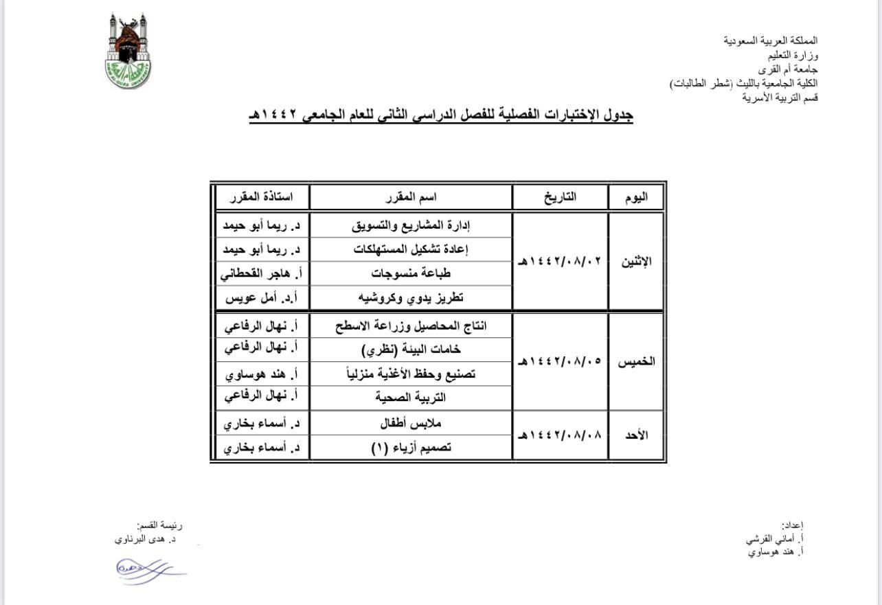 جدول امتحانات الفصل الدراسي الثاني للكلية الجامعية بالليث بجامعة أم القرى مع امتياز أفضل شركة عمل بحوث في السعودية